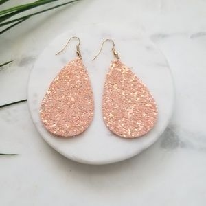 5 for $25 Pink Glitter Leather Leaf Earrings